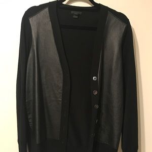 Jcrew leather front cardigan
